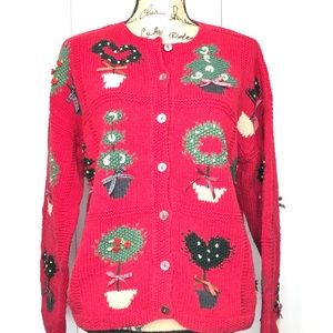 Talbots Hand Knit Holiday Cardigan Sweater Red